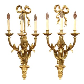 Large Pair of French Louis XVI Gilt Bronze Three-Light Wall Sconces