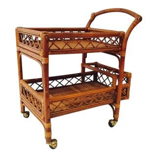Mid-Century Bamboo & Cane Bar Cart 2 Tier