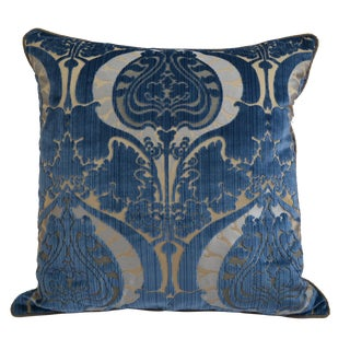 Scalamandré Art Nouveau Style Blue Damask Silk Cut Velvet Pillow
