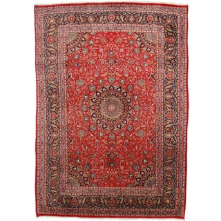 RugsinDallas Hand Knotted Persian Kashan Rug - 7′8″ × 11′4″