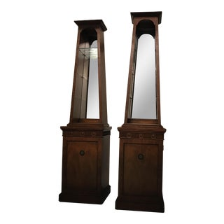 Mid-Century Obelisk Mirrored Cabinets - A Pair