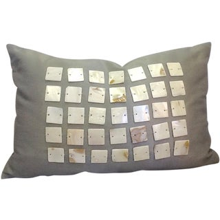 Vintage Olive Green Pillow With Mother-Of-Pearl