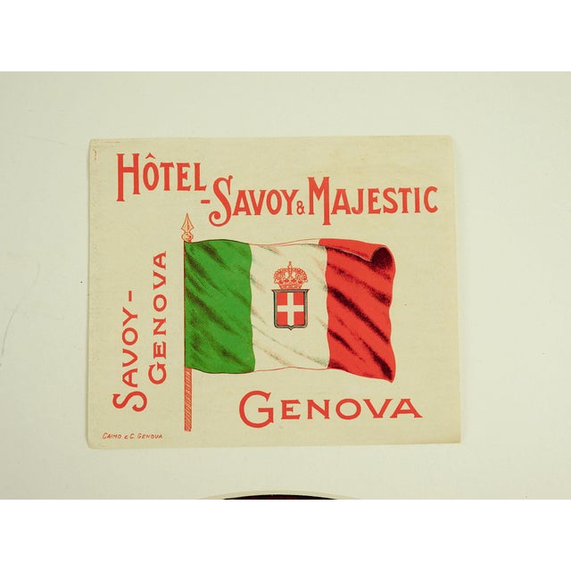 Vintage Hotel Savoy Genova Italy Luggage Tags - Set of 3 - Image 3 of 3