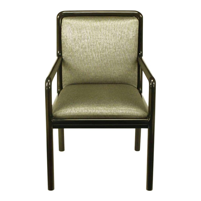Four Martin Brattrud Ebonized & Upholstered Arm Chairs. - Image 1 of 9