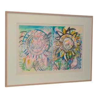 "Pat Steir ""Sunflowers"" Color Woodcut, C.1986"