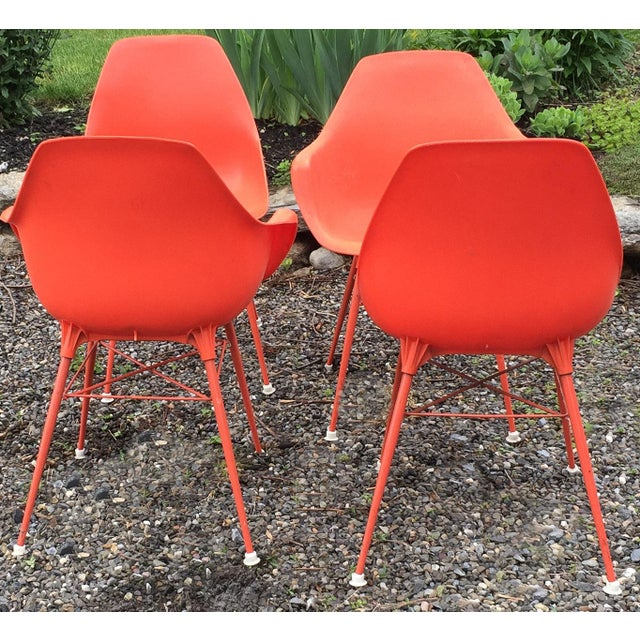 Vintage Orange Chairs - Set of 4 - Image 4 of 9