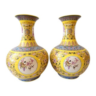 Famille Jaune Large Onion Shape Vases - S/2