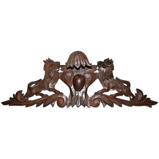 French Antique Oak Lion Cartouche