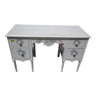 Vintage White Painted Vanity or Writing Desk