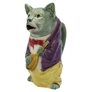 French Majolica Cat & Fiddle Pitcher