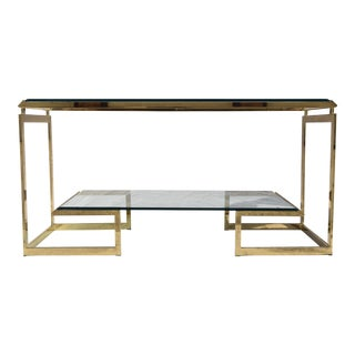Milo Baughman DIA Brass & Glass Console Table/Server