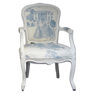 French Louis Blue Cream Toile XV-Style Arm ChaiR