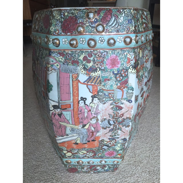 Antique Chinese Ceramic Polychrome Garden Seat - Image 5 of 9