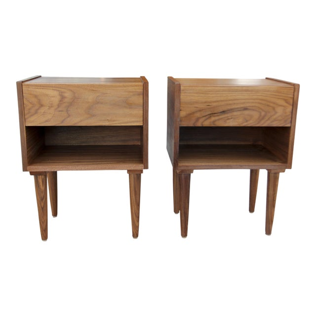 Mid-Century American Walnut Nightstands - A Pair - Image 1 of 10