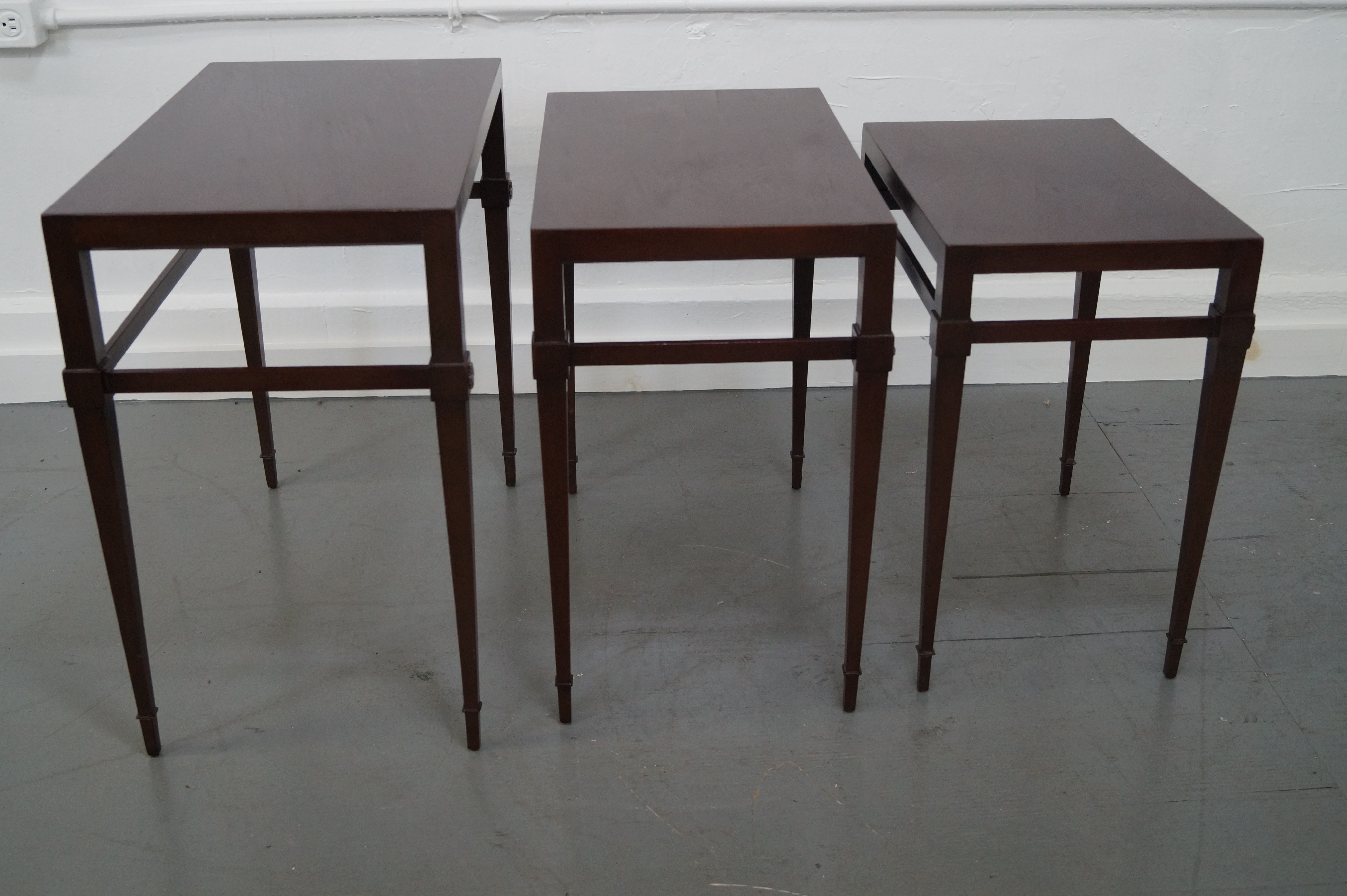 Exceptional Tommi Parzinger Mahogany Nesting Tables   Set Of 3   Image 2 Of 10