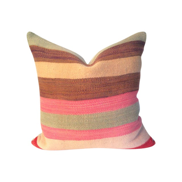 Image of Pink and Tan Stripe Moroccan Kilim Pillow
