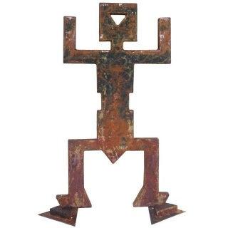 "Brutalist ""Memphis Burning Man"" Garden Sculpture in Oxidized Iron"