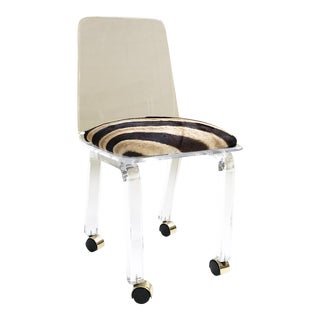 Lucite & Zebra Hide Desk Chair