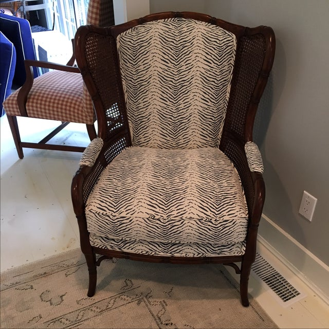 Cream Amp Blue Animal Print Upholstered Arm Chair Chairish