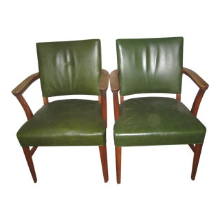 Mid-Century Leather Armchairs With Nailhead Trim - A Pair
