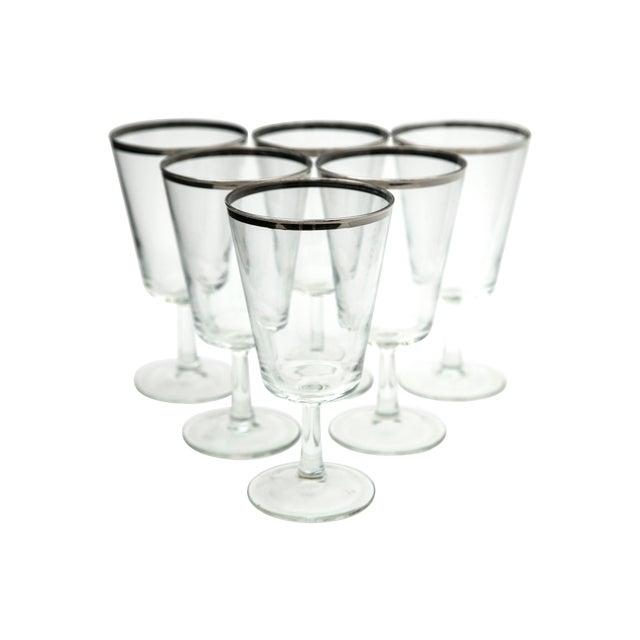 Modern Silver Rim Glass Goblets - Set of 6 - Image 1 of 5