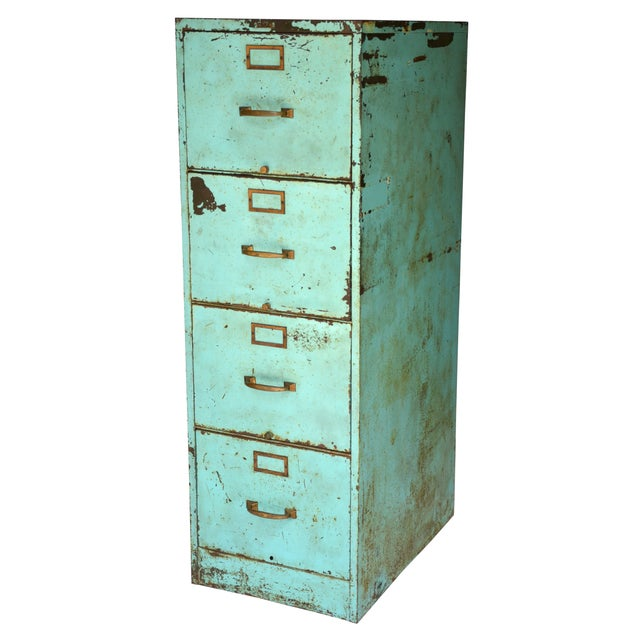 Industrial Turquoise Filing Cabinet - Image 1 of 7