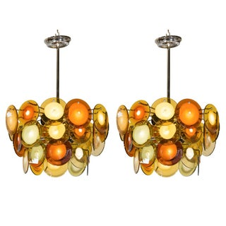 Art Deco Style Glass Disc Fixtures - A Pair