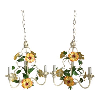 Italian Tole Flower Chandeliers - A Pair