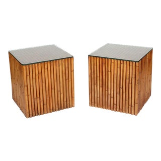 Pair of Faux Bamboo Dowel Tables