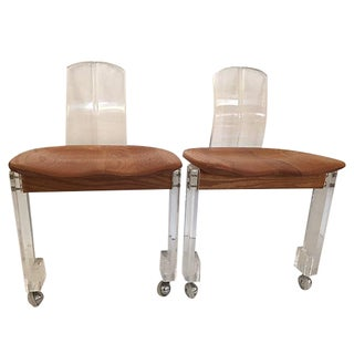 Italian 70's Wood Lucite Chairs - Pair