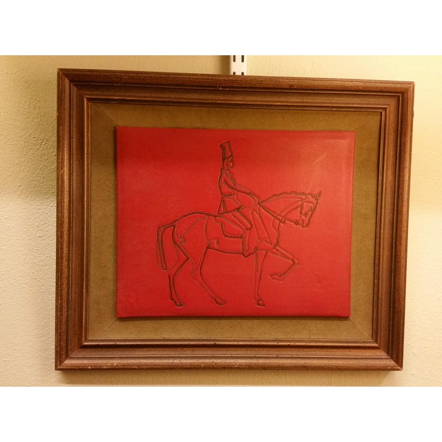 Image of Embossed Leather Horse & Rider Wall Hanging