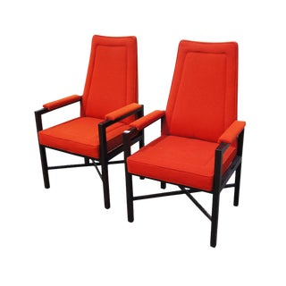 Vintage Red Edward Wormley Dunbar Chairs - A Pair