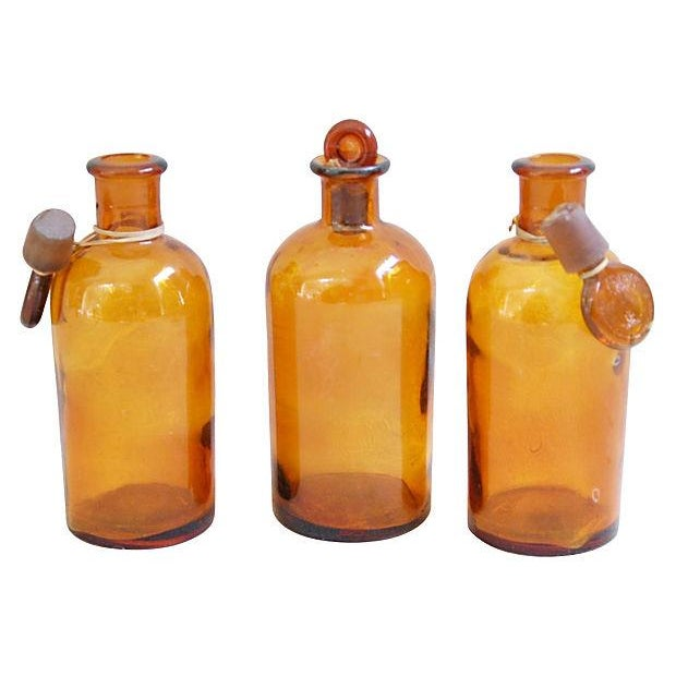 Amber Antique French Apothecary Bottles - Set of 3 - Image 2 of 2