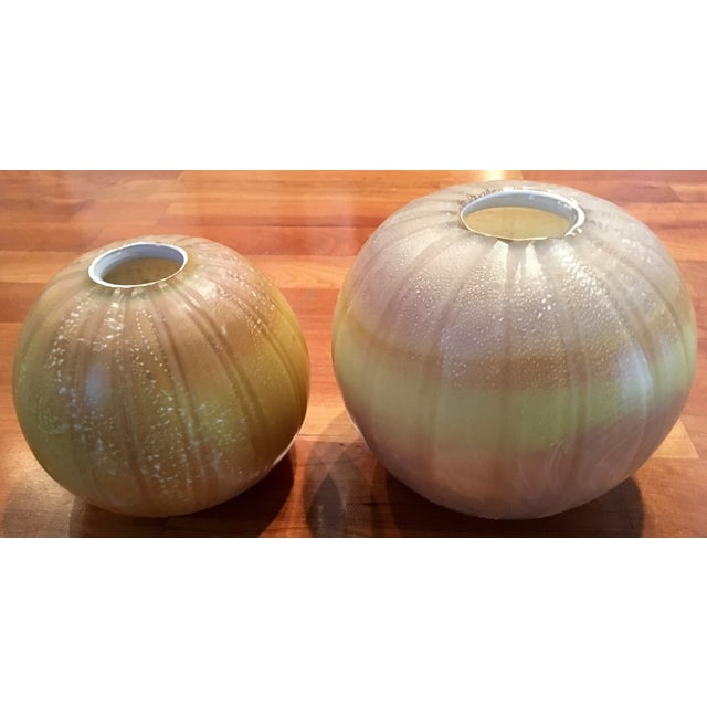 Image of Round Maize Vases - A Pair