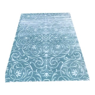 Transitional Damask Aqua Rug - 5' x 8'
