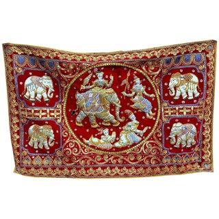 Burmese Kalaga Red Velvet Elephants Textile