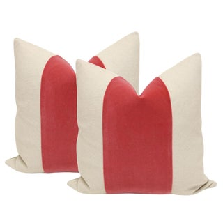 Rosé Velvet Panel & Linen Pillows - A Pair