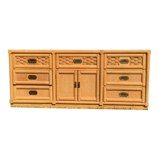 Dixie Wicker Weave Campaign 9 Drawer Credenza