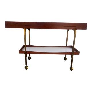 Mid Century Brass and Walnut Mirrored Bar Cart