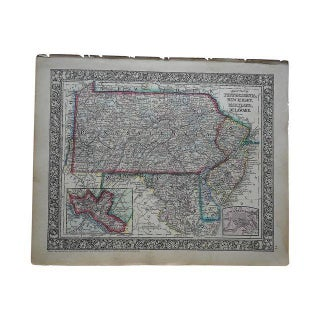 Antique Map of Pennsylvania, New Jersey & Maryland