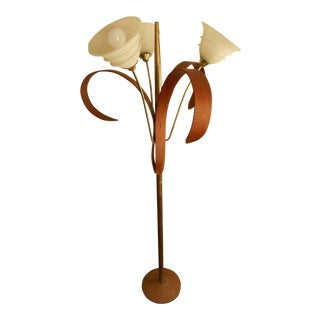 Mid-Century Walnut & Brass Floral Floor Lamp