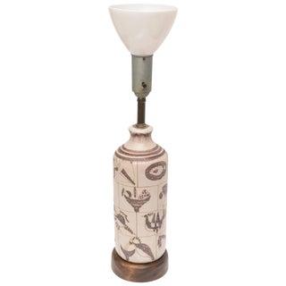 Italian Gambone for Marbro Glazed Ceramic and Wood Hieroglyph Lamp