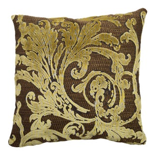 Italian Damask Gold and Brown Pillow