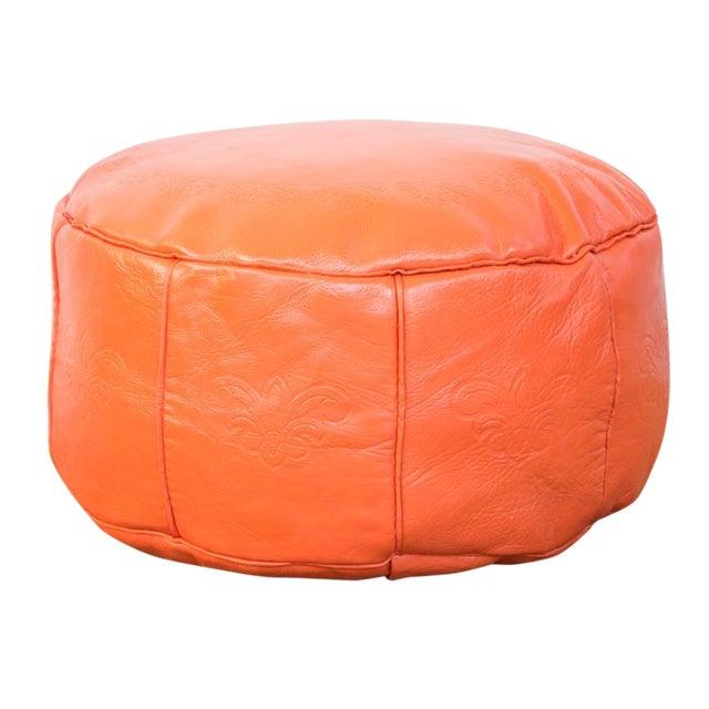 Antique Leather Moroccan Pouf - Orange - Image 1 of 8