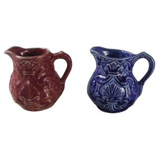 Majolica Creamers Pitchers - A Pair