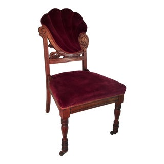 Antique Red Velvet Parlor Chair