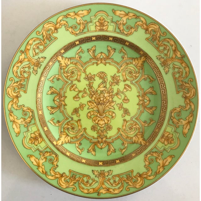 "Image of Versace by Rosenthal ""Green Floralia"" Small Plates- Set of 6"