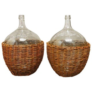 Woven Willow Wine Demijohn Glass Bottles - a Pair