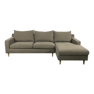 Modern Chestnut Sectional Chaise Sofa