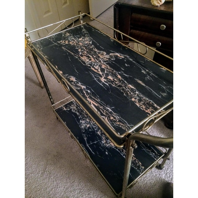 Mid-Century Modern Brass & Marble Rolling Bar Cart - Image 10 of 11